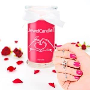 JewelCandle True Love - Bougie Parfumée avec Bijou Surprise en Argent