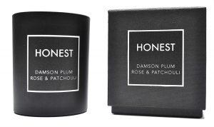 Honest Bougie de soja parfumée de Luxe – Prune, Rose et Patchouli